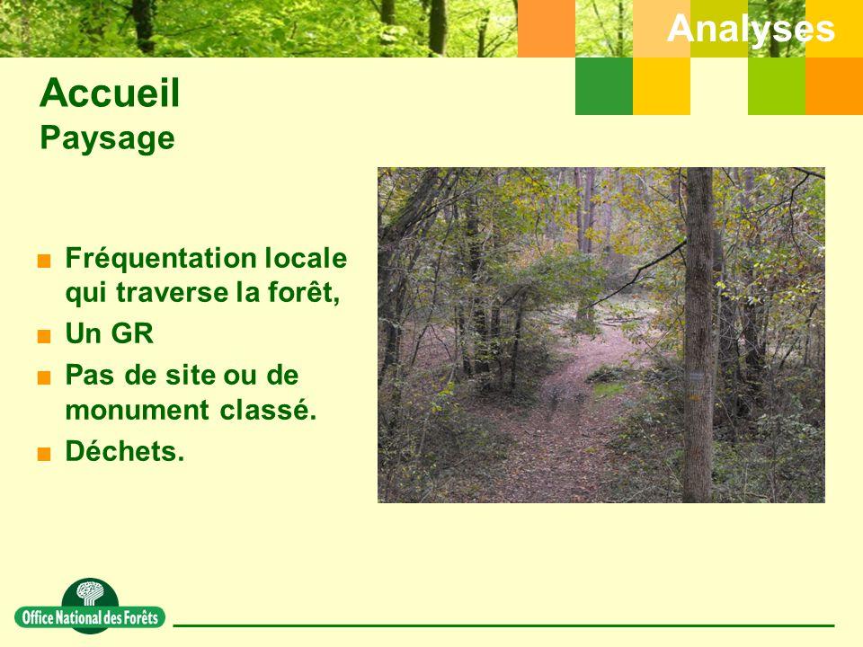 Analyses  Fréquentation locale qui traverse la forêt,  Un GR  Pas de site ou de monument classé.