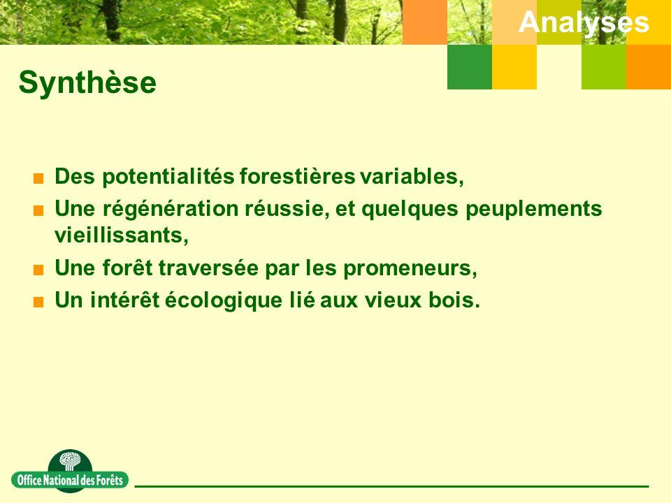Synthèse  Des potentialités forestières variables,  Une régénération réussie, et quelques peuplements vieillissants,  Une forêt traversée par les promeneurs,  Un intérêt écologique lié aux vieux bois.