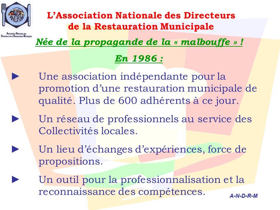 L'Association Nationale des Directeurs de la Restauration Municipale Née de la propagande de la « malbouffe » ! En 1986 : ► Une association indépendan