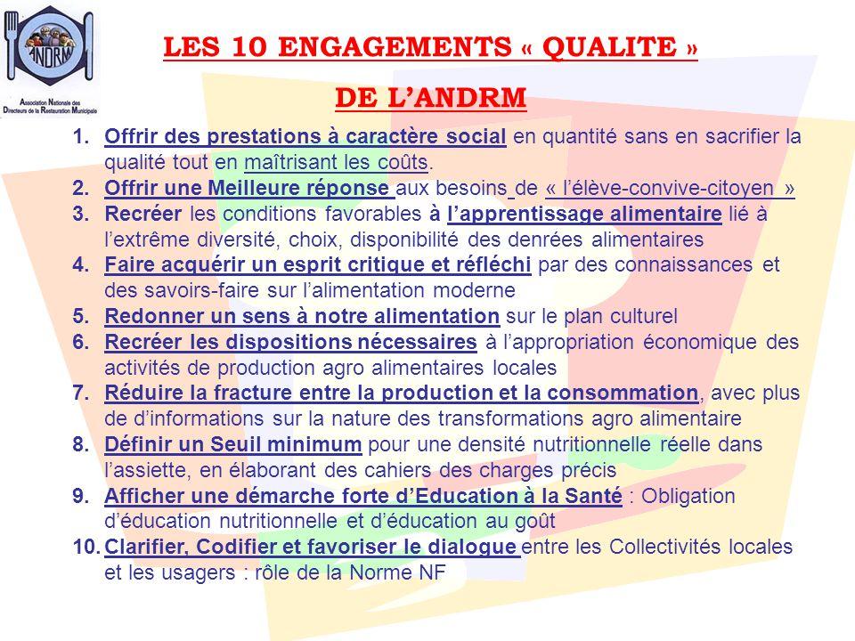 LES 10 ENGAGEMENTS « QUALITE » DE L'ANDRM 1.Offrir des prestations à caractère social en quantité sans en sacrifier la qualité tout en maîtrisant les