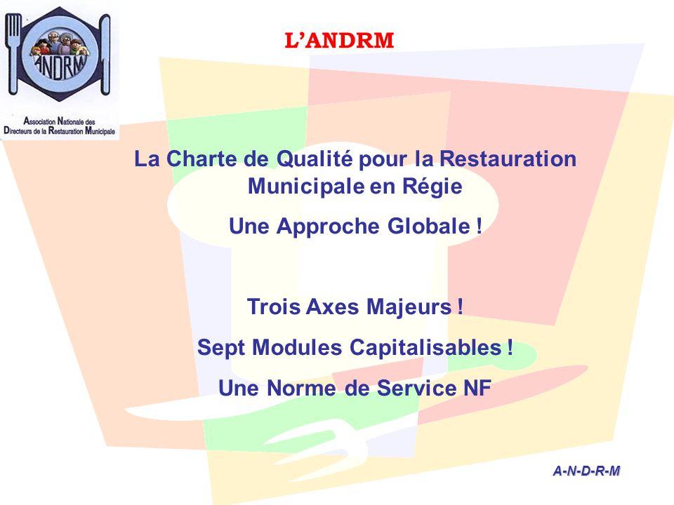 L'ANDRM A-N-D-R-M A-N-D-R-M La Charte de Qualité pour la Restauration Municipale en Régie Une Approche Globale ! Trois Axes Majeurs ! Sept Modules Cap