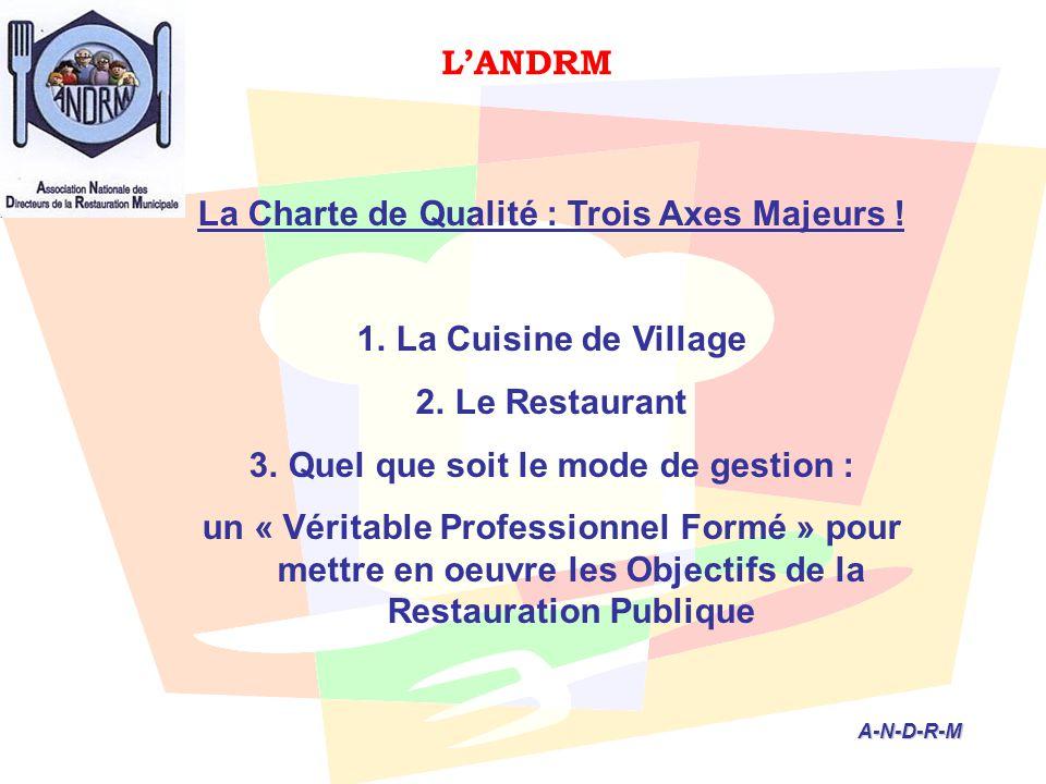 L'ANDRM A-N-D-R-M A-N-D-R-M La Charte de Qualité : Trois Axes Majeurs ! 1.La Cuisine de Village 2.Le Restaurant 3.Quel que soit le mode de gestion : u