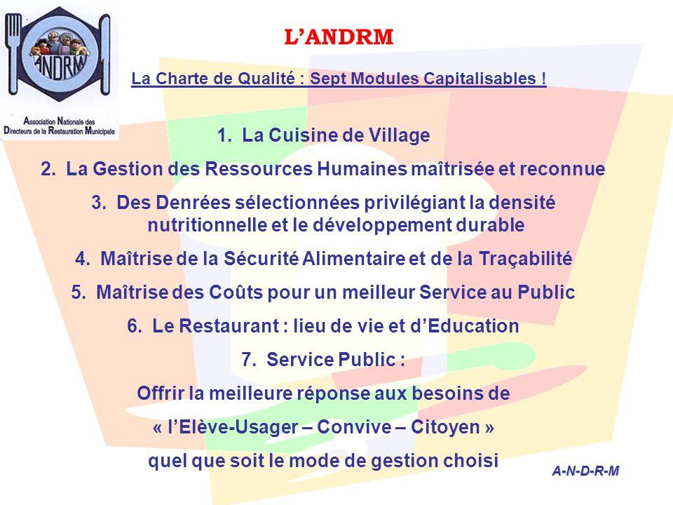L'ANDRM La Charte de Qualité : Sept Modules Capitalisables ! A-N-D-R-M A-N-D-R-M 1.La Cuisine de Village 2.La Gestion des Ressources Humaines maîtrisé