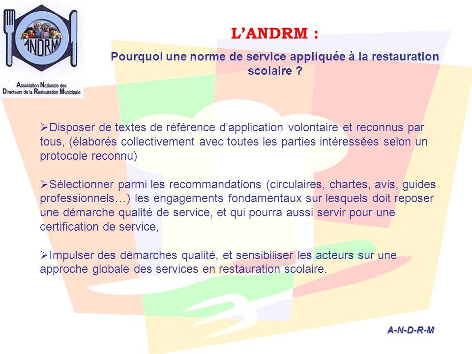 L'ANDRM : Pourquoi une norme de service appliquée à la restauration scolaire ? A-N-D-R-M A-N-D-R-M  Disposer de textes de référence d'application vol