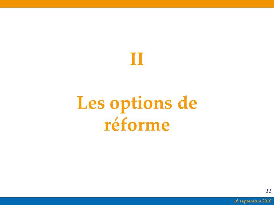 16 septembre 2010 11 II Les options de réforme