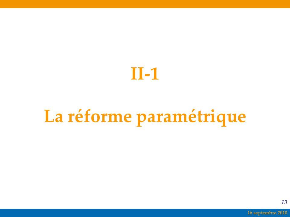 16 septembre 2010 13 II-1 La réforme paramétrique