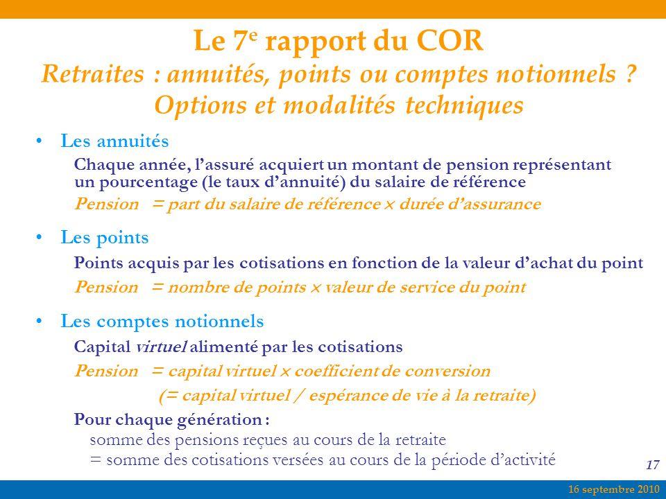 16 septembre 2010 17 Le 7 e rapport du COR Retraites : annuités, points ou comptes notionnels ? Options et modalités techniques Les annuités Chaque an