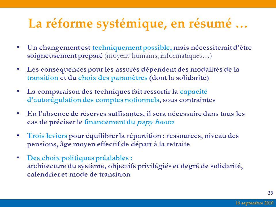 16 septembre 2010 19 La réforme systémique, en résumé … Un changement est techniquement possible, mais nécessiterait d'être soigneusement préparé (moy