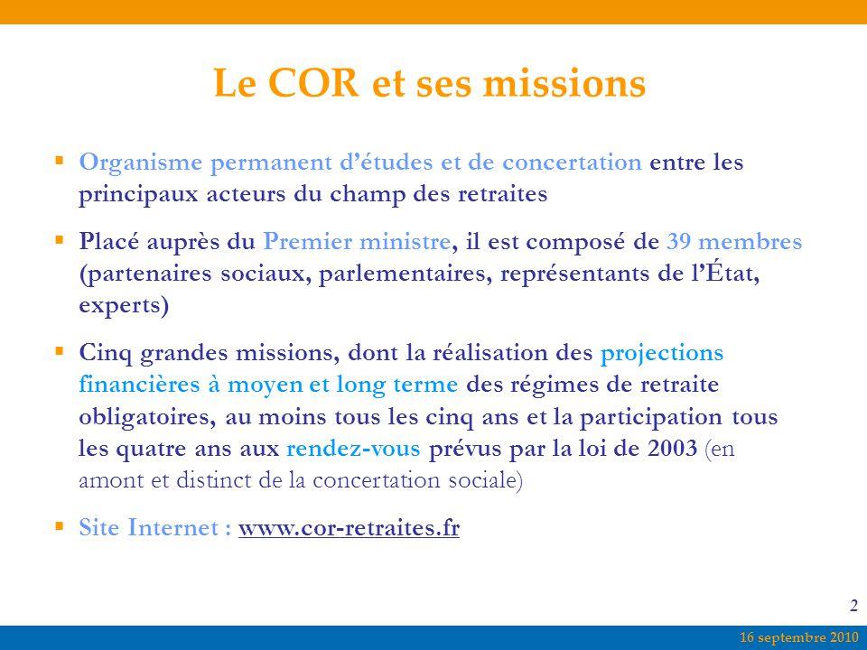 16 septembre 2010 2 Le COR et ses missions  Organisme permanent d'études et de concertation entre les principaux acteurs du champ des retraites  Pla