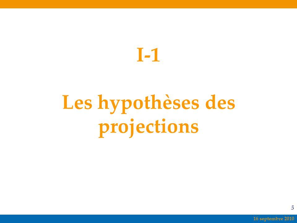16 septembre 2010 5 I-1 Les hypothèses des projections