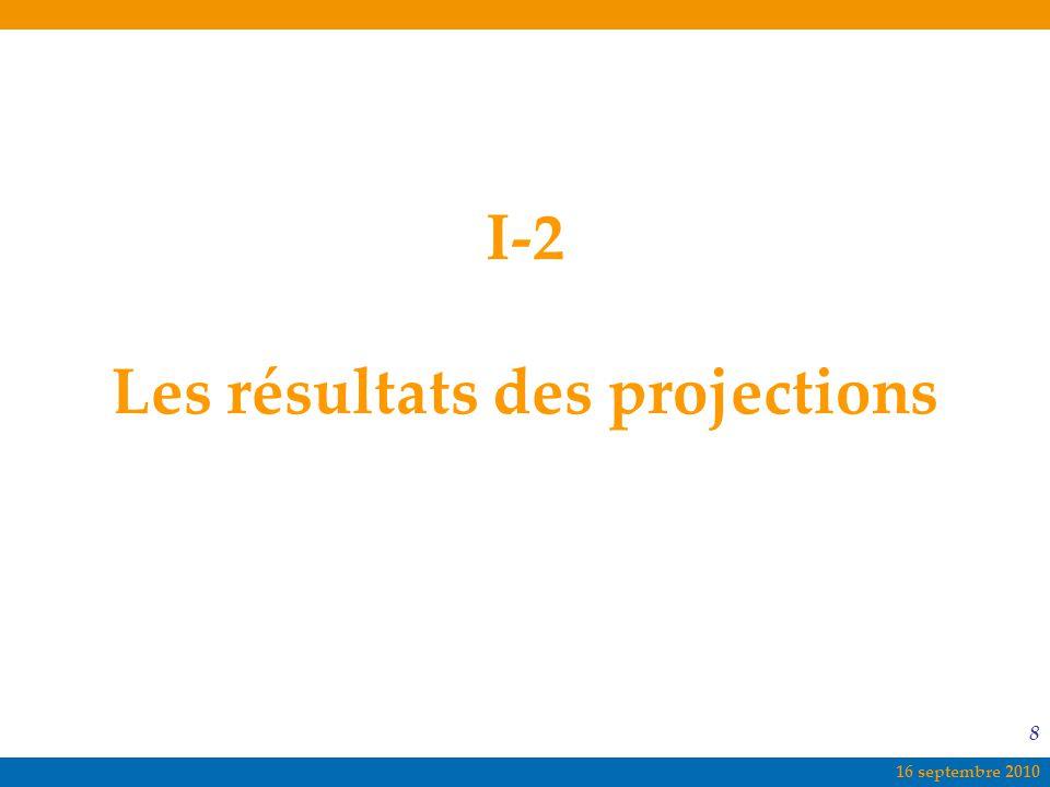 16 septembre 2010 8 I-2 Les résultats des projections