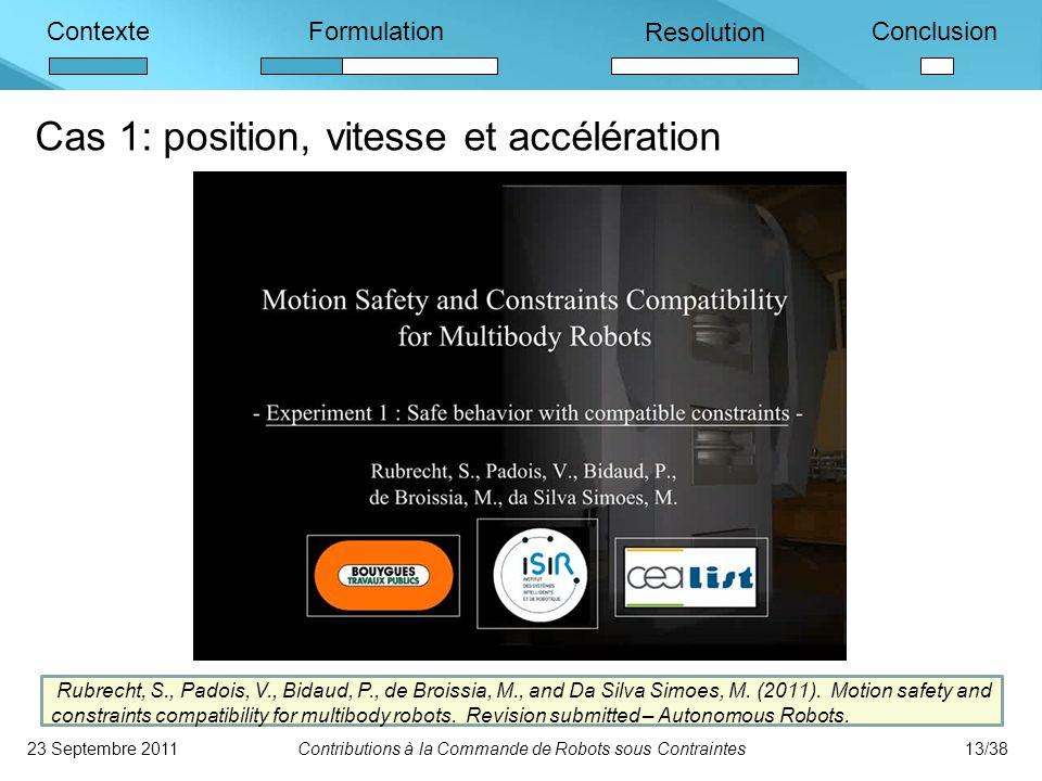 ContexteFormulation Resolution Conclusion Cas 1: position, vitesse et accélération 23 Septembre 2011Contributions à la Commande de Robots sous Contraintes13/38 Rubrecht, S., Padois, V., Bidaud, P., de Broissia, M., and Da Silva Simoes, M.