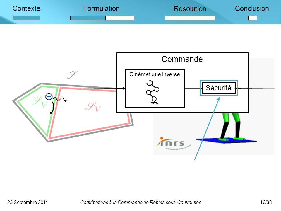 ContexteFormulation Resolution Conclusion Formulation des contraintes Formulation du problème de commande Expression Compatibilité .