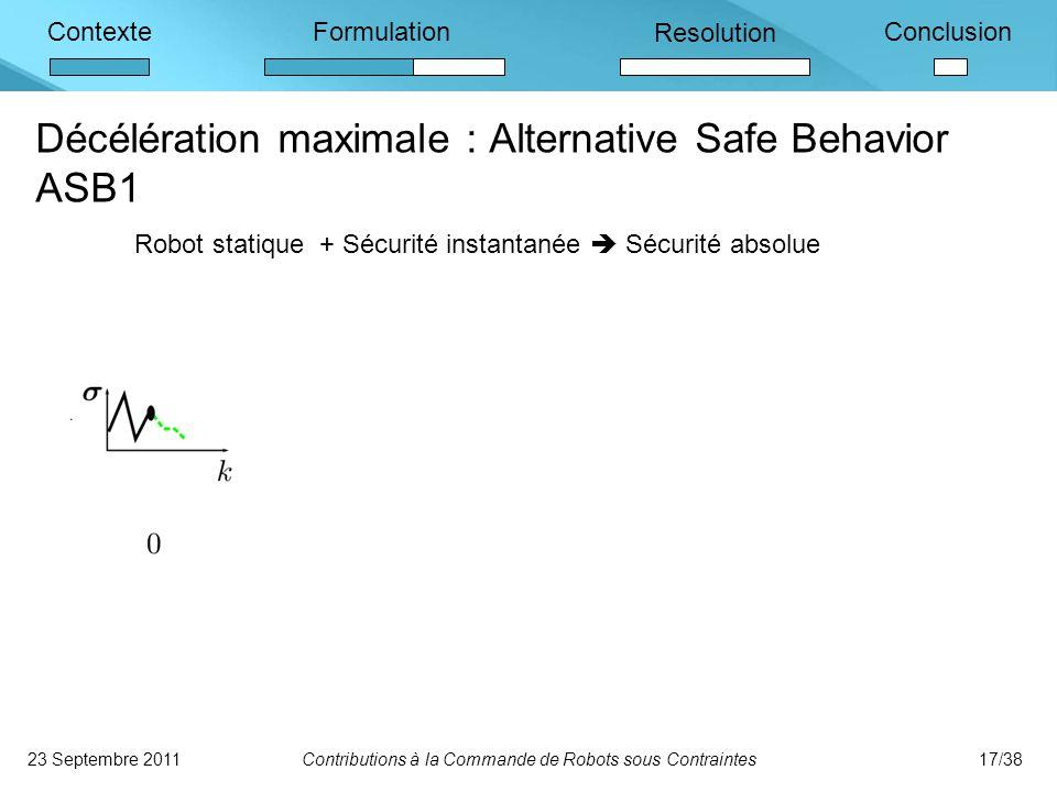 ContexteFormulation Resolution Conclusion Décélération maximale : Alternative Safe Behavior ASB1 23 Septembre 2011Contributions à la Commande de Robots sous Contraintes17/38 Robot statique + Sécurité instantanée  Sécurité absolue