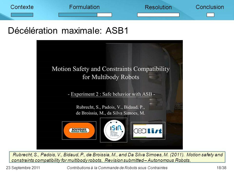 ContexteFormulation Resolution Conclusion Décélération maximale: ASB1 23 Septembre 2011Contributions à la Commande de Robots sous Contraintes18/38 Rubrecht, S., Padois, V., Bidaud, P., de Broissia, M., and Da Silva Simoes, M.