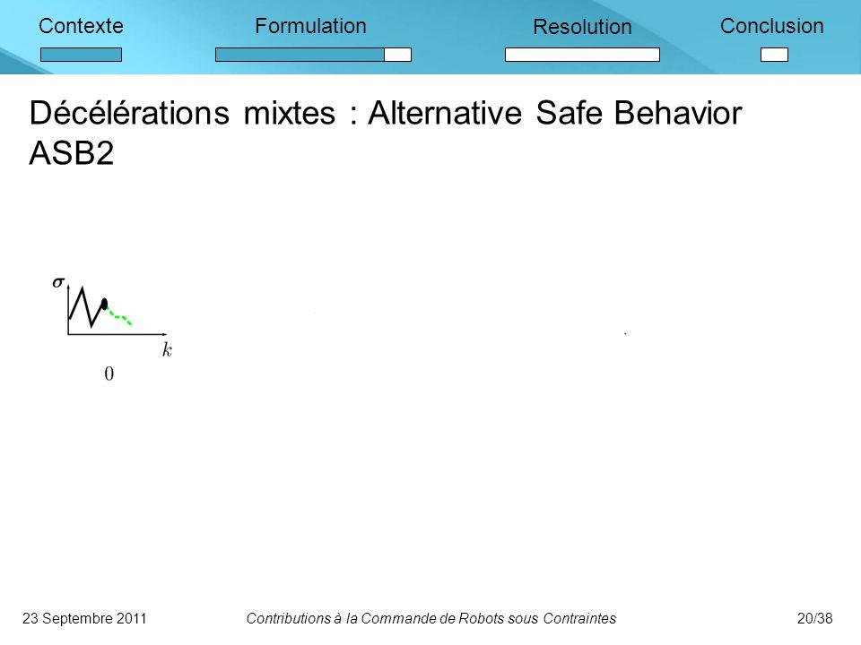 ContexteFormulation Resolution Conclusion 23 Septembre 2011Contributions à la Commande de Robots sous Contraintes20/38 Décélérations mixtes : Alternative Safe Behavior ASB2