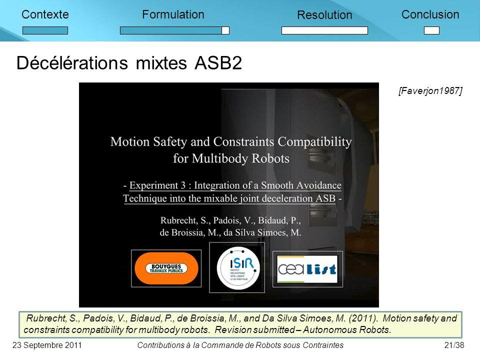 ContexteFormulation Resolution Conclusion Décélérations mixtes ASB2 23 Septembre 2011Contributions à la Commande de Robots sous Contraintes21/38 Rubrecht, S., Padois, V., Bidaud, P., de Broissia, M., and Da Silva Simoes, M.