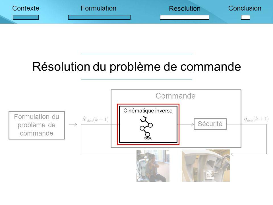 ContexteFormulation Resolution Conclusion Résolution du problème de commande Formulation du problème de commande Commande Sécurité Cinématique inverse