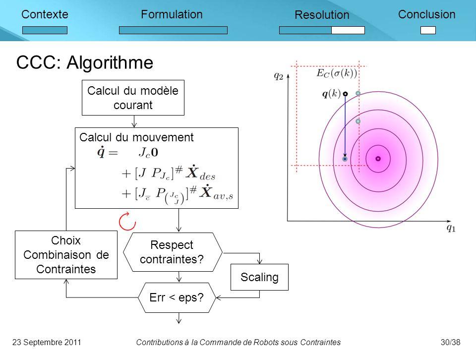 ContexteFormulation Resolution Conclusion Calcul du modèle courant Calcul du mouvement Choix Combinaison de Contraintes Respect contraintes.
