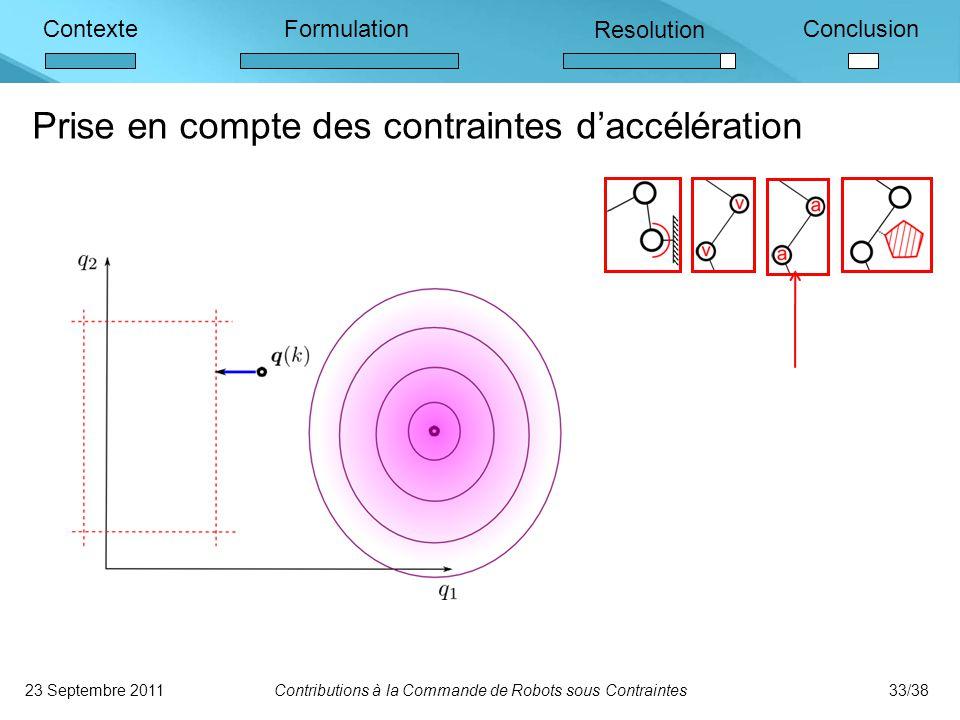 ContexteFormulation Resolution Conclusion Prise en compte des contraintes d'accélération 23 Septembre 2011Contributions à la Commande de Robots sous Contraintes33/38