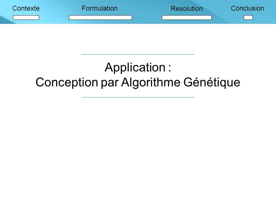 ContexteFormulation Resolution Conclusion Application : Conception par Algorithme Génétique