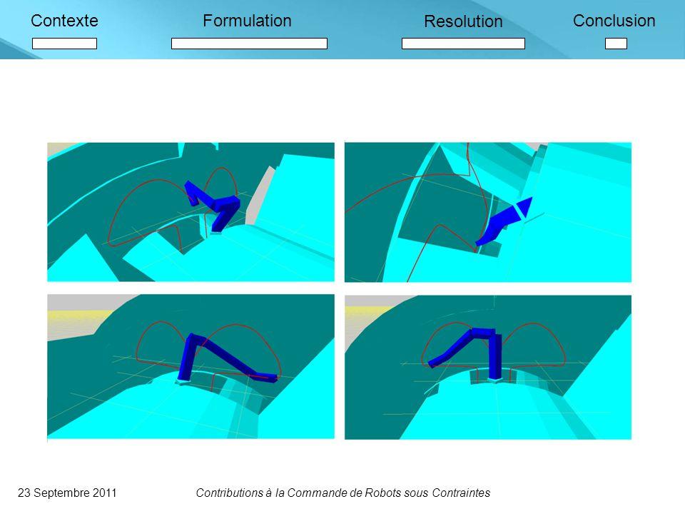 ContexteFormulation Resolution Conclusion 23 Septembre 2011Contributions à la Commande de Robots sous Contraintes