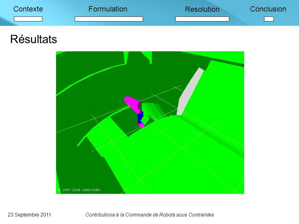ContexteFormulation Resolution Conclusion Résultats 23 Septembre 2011Contributions à la Commande de Robots sous Contraintes