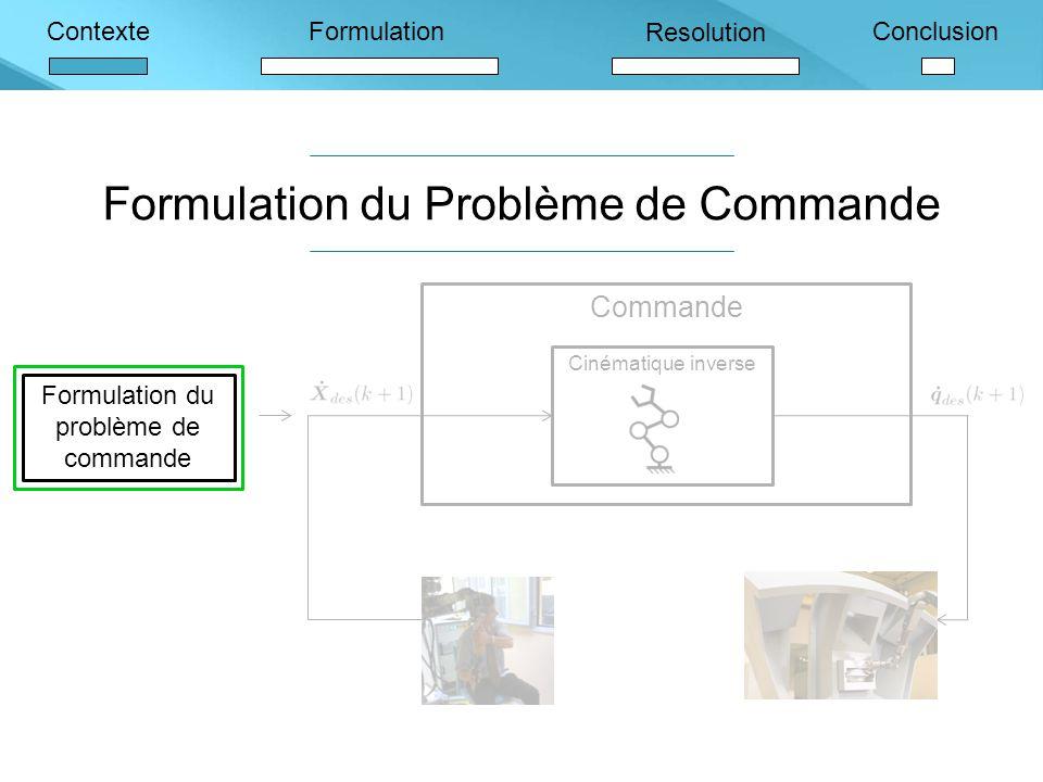 ContexteFormulation Resolution Conclusion Formulation du Problème de Commande Commande Cinématique inverse Formulation du problème de commande