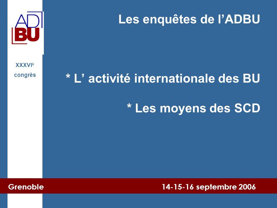 Grenoble 14-15-16 septembre 2006 XXXVI è congrès Les enquêtes de l'ADBU * L' activité internationale des BU * Les moyens des SCD