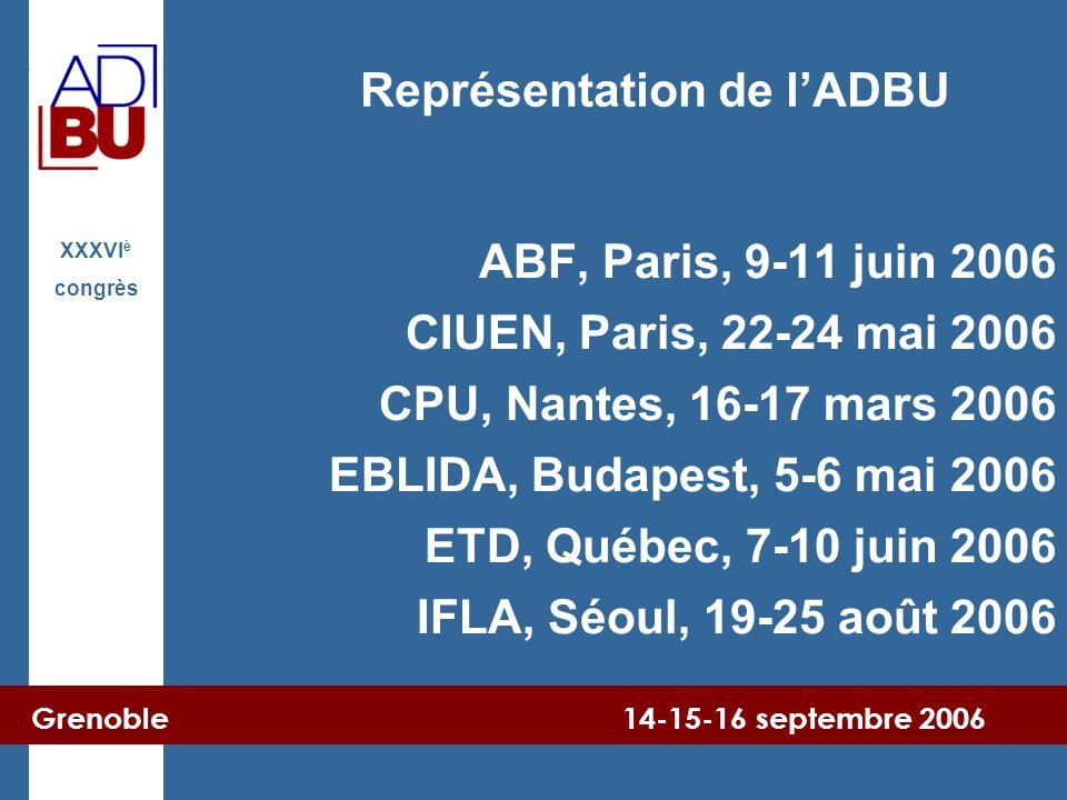 Grenoble 14-15-16 septembre 2006 XXXVI è congrès ABF, Paris, 9-11 juin 2006 CIUEN, Paris, 22-24 mai 2006 CPU, Nantes, 16-17 mars 2006 EBLIDA, Budapest