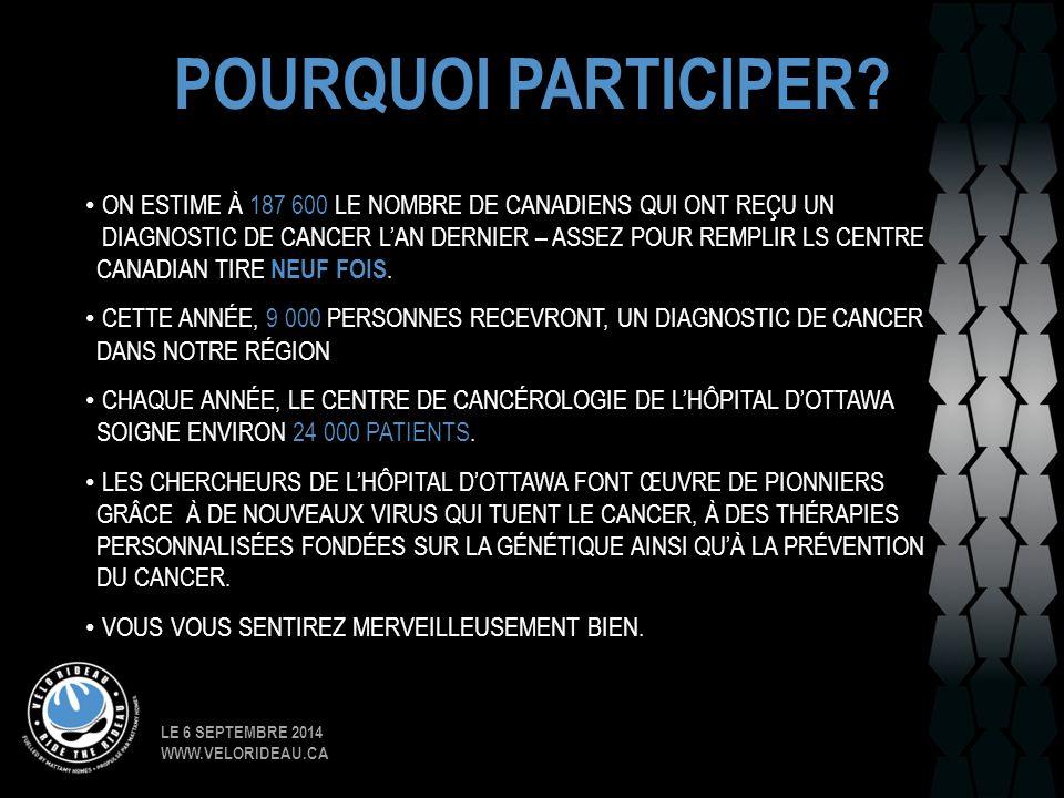 LE 6 SEPTEMBRE 2014 WWW.VELORIDEAU.CA POURQUOI PARTICIPER? ON ESTIME À 187 600 LE NOMBRE DE CANADIENS QUI ONT REÇU UN DIAGNOSTIC DE CANCER L'AN DERNIE