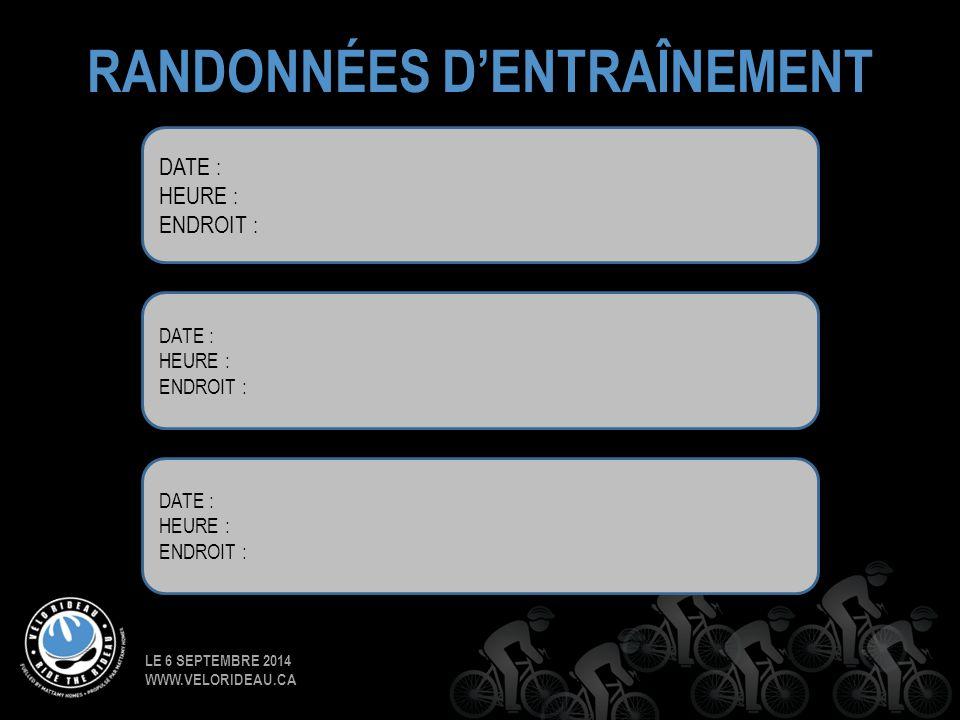 LE 6 SEPTEMBRE 2014 WWW.VELORIDEAU.CA RANDONNÉES D'ENTRAÎNEMENT DATE : HEURE : ENDROIT : DATE : HEURE : ENDROIT : DATE : HEURE : ENDROIT :