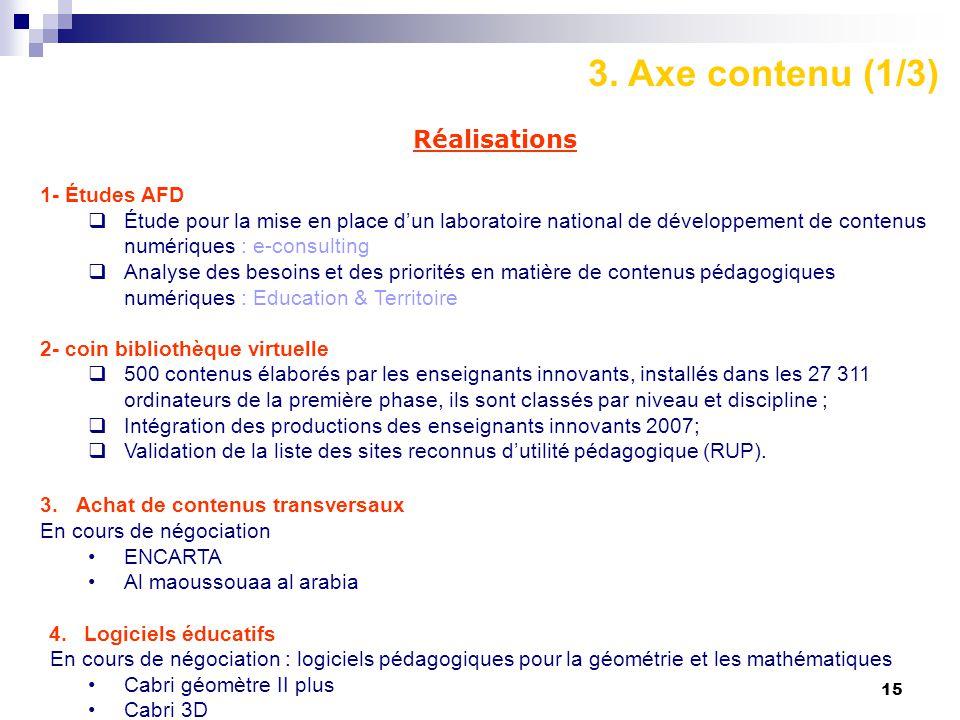 15 3. Axe contenu (1/3) Réalisations 1- Études AFD  Étude pour la mise en place d'un laboratoire national de développement de contenus numériques : e