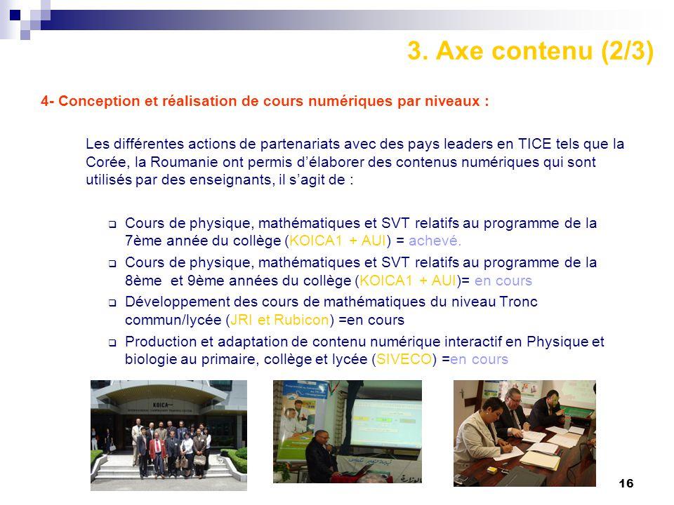 16 3. Axe contenu (2/3) 4- Conception et réalisation de cours numériques par niveaux : Les différentes actions de partenariats avec des pays leaders e