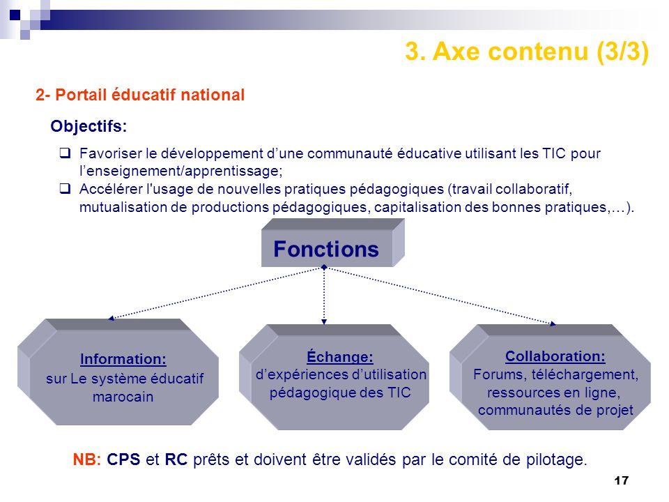 17 2- Portail éducatif national Objectifs:  Favoriser le développement d'une communauté éducative utilisant les TIC pour l'enseignement/apprentissage;  Accélérer l usage de nouvelles pratiques pédagogiques (travail collaboratif, mutualisation de productions pédagogiques, capitalisation des bonnes pratiques,…).