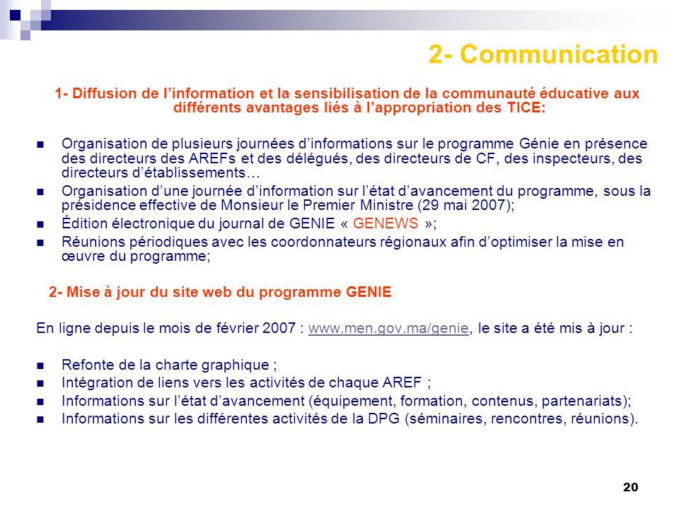 20 2- Communication 1- Diffusion de l'information et la sensibilisation de la communauté éducative aux différents avantages liés à l'appropriation des