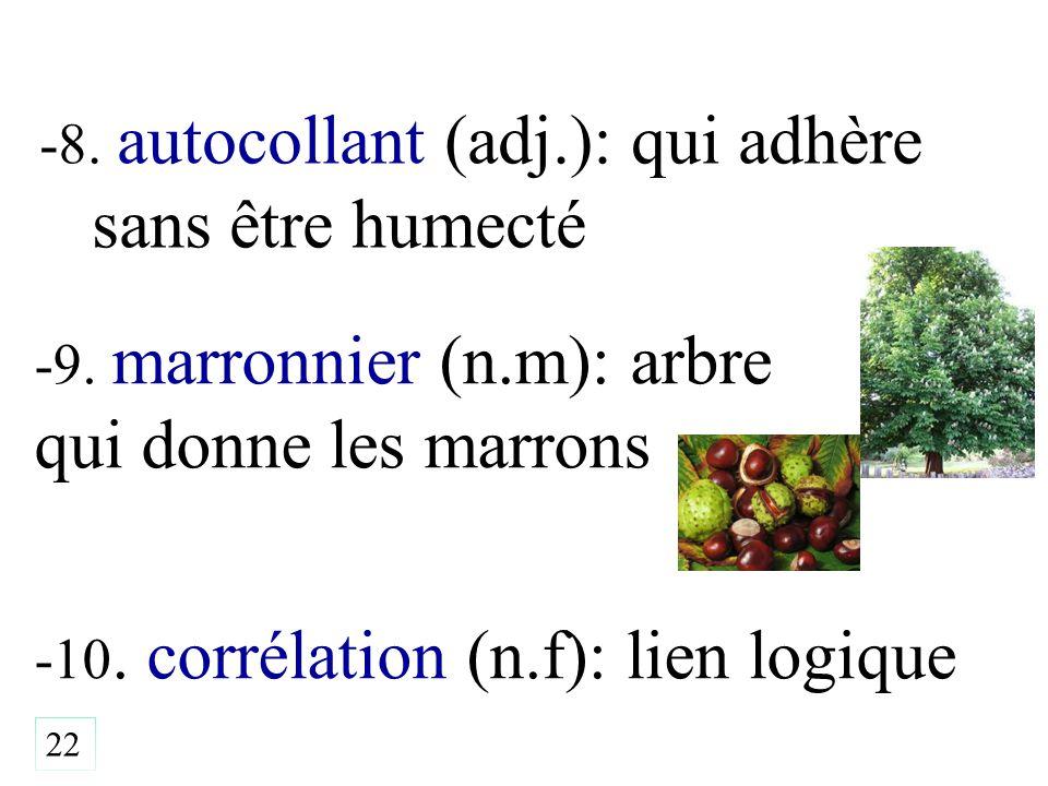 -8. autocollant (adj.): qui adhère sans être humecté -10. corrélation (n.f): lien logique 22 -9. marronnier (n.m): arbre qui donne les marrons