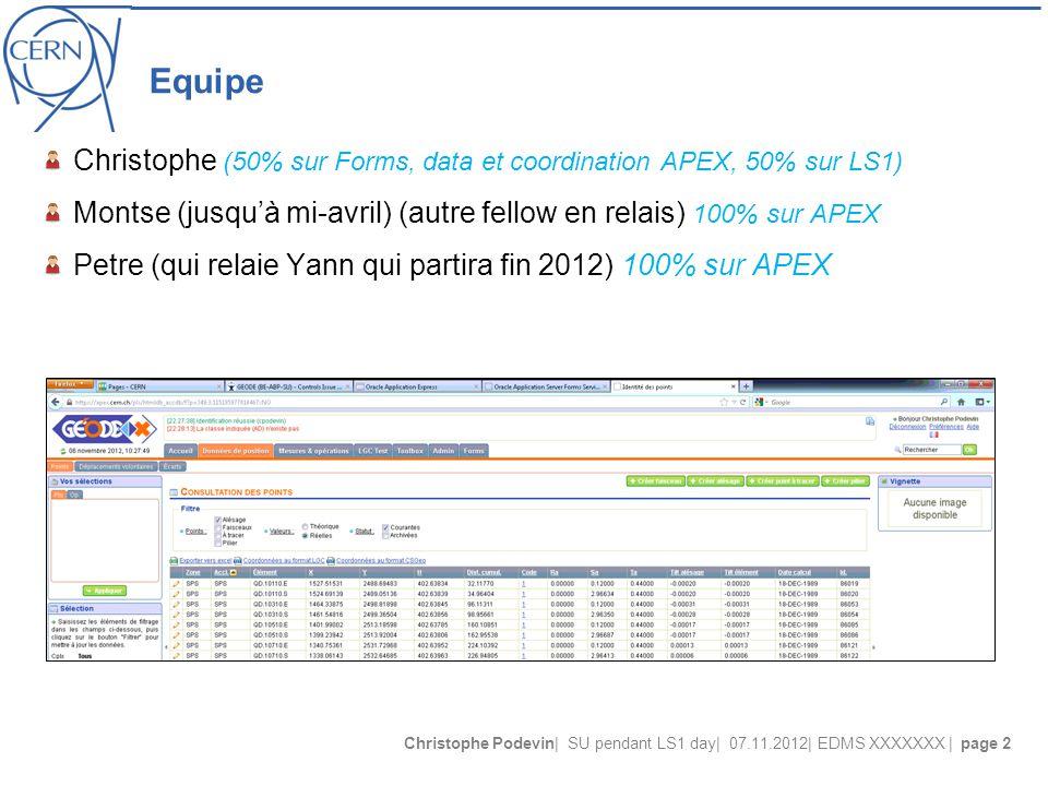 Christophe Podevin| SU pendant LS1 day| 07.11.2012| EDMS XXXXXXX | page 2 Equipe Christophe (50% sur Forms, data et coordination APEX, 50% sur LS1) Montse (jusqu'à mi-avril) (autre fellow en relais) 100% sur APEX Petre (qui relaie Yann qui partira fin 2012) 100% sur APEX