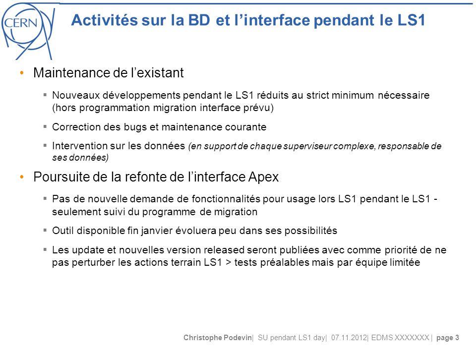 Christophe Podevin| SU pendant LS1 day| 07.11.2012| EDMS XXXXXXX | page 3 Activités sur la BD et l'interface pendant le LS1 Maintenance de l'existant
