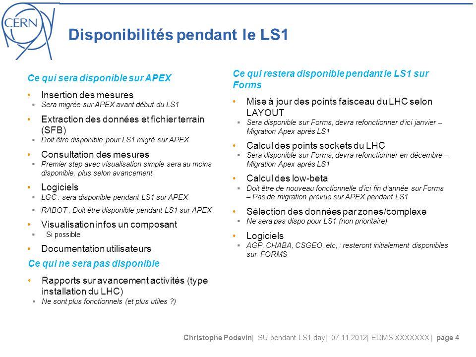 Christophe Podevin| SU pendant LS1 day| 07.11.2012| EDMS XXXXXXX | page 4 Disponibilités pendant le LS1 Ce qui sera disponible sur APEX Insertion des mesures  Sera migrée sur APEX avant début du LS1 Extraction des données et fichier terrain (SFB)  Doit être disponible pour LS1 migré sur APEX Consultation des mesures  Premier step avec visualisation simple sera au moins disponible, plus selon avancement Logiciels  LGC : sera disponible pendant LS1 sur APEX  RABOT : Doit être disponible pendant LS1 sur APEX Visualisation infos un composant  Si possible Documentation utilisateurs Ce qui restera disponible pendant le LS1 sur Forms Mise à jour des points faisceau du LHC selon LAYOUT  Sera disponible sur Forms, devra refonctionner d'ici janvier – Migration Apex après LS1 Calcul des points sockets du LHC  Sera disponible sur Forms, devra refonctionner en décembre – Migration Apex après LS1 Calcul des low-beta  Doit être de nouveau fonctionnelle d'ici fin d'année sur Forms – Pas de migration prévue sur APEX pendant LS1 Sélection des données par zones/complexe  Ne sera pas dispo pour LS1 (non prioritaire) Logiciels  AGP, CHABA, CSGEO, etc, : resteront initialement disponibles sur FORMS Ce qui ne sera pas disponible Rapports sur avancement activités (type installation du LHC)  Ne sont plus fonctionnels (et plus utiles )