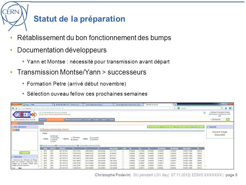 Christophe Podevin| SU pendant LS1 day| 07.11.2012| EDMS XXXXXXX | page 5 Statut de la préparation Rétablissement du bon fonctionnement des bumps Docu