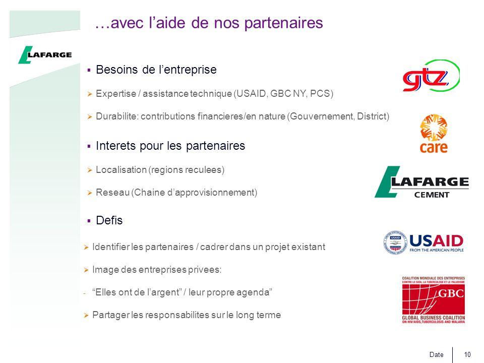 Date10  Interets pour les partenaires  Localisation (regions reculees)  Reseau (Chaine d'approvisionnement)  Defis …avec l'aide de nos partenaires