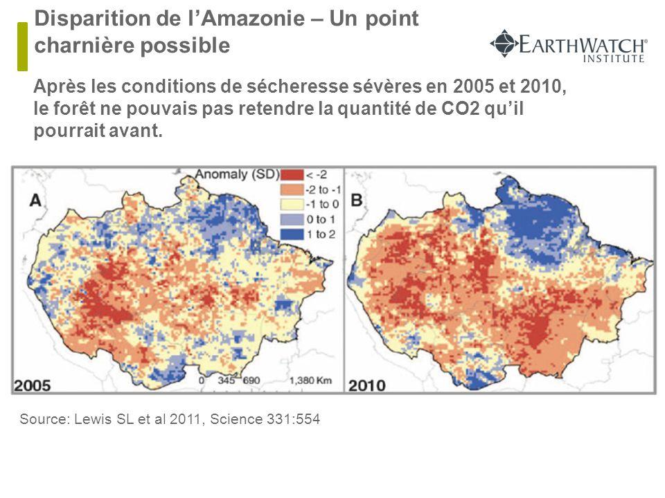 Disparition de l'Amazonie – Un point charnière possible  Après les conditions de sécheresse sévères en 2005 et 2010, le forêt ne pouvais pas retendre