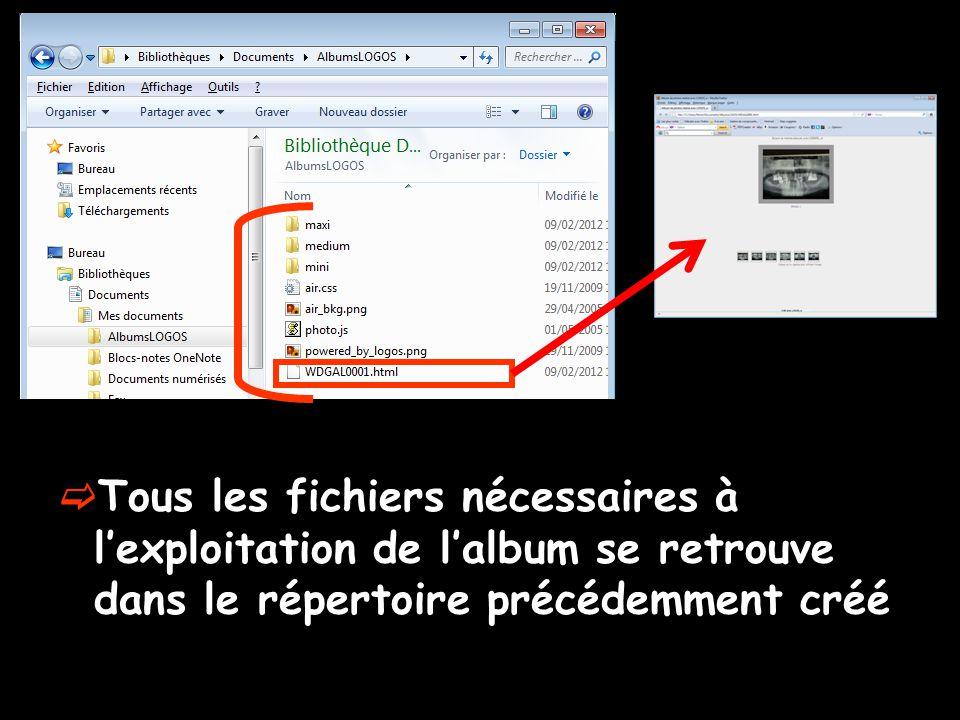  Tous les fichiers nécessaires à l'exploitation de l'album se retrouve dans le répertoire précédemment créé
