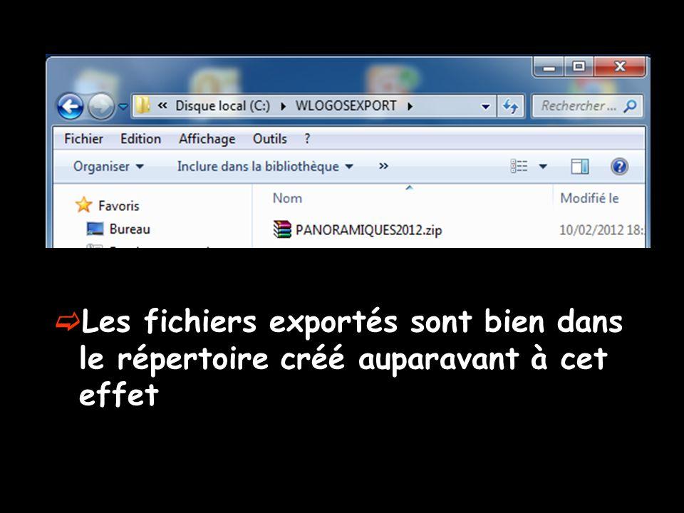  Les fichiers exportés sont bien dans le répertoire créé auparavant à cet effet
