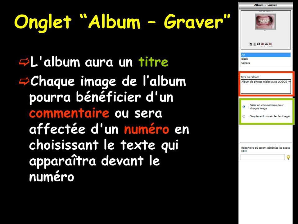 Onglet Album – Graver″  L album aura un titre  Chaque image de l'album pourra bénéficier d un commentaire ou sera affectée d un numéro en choisissant le texte qui apparaîtra devant le numéro