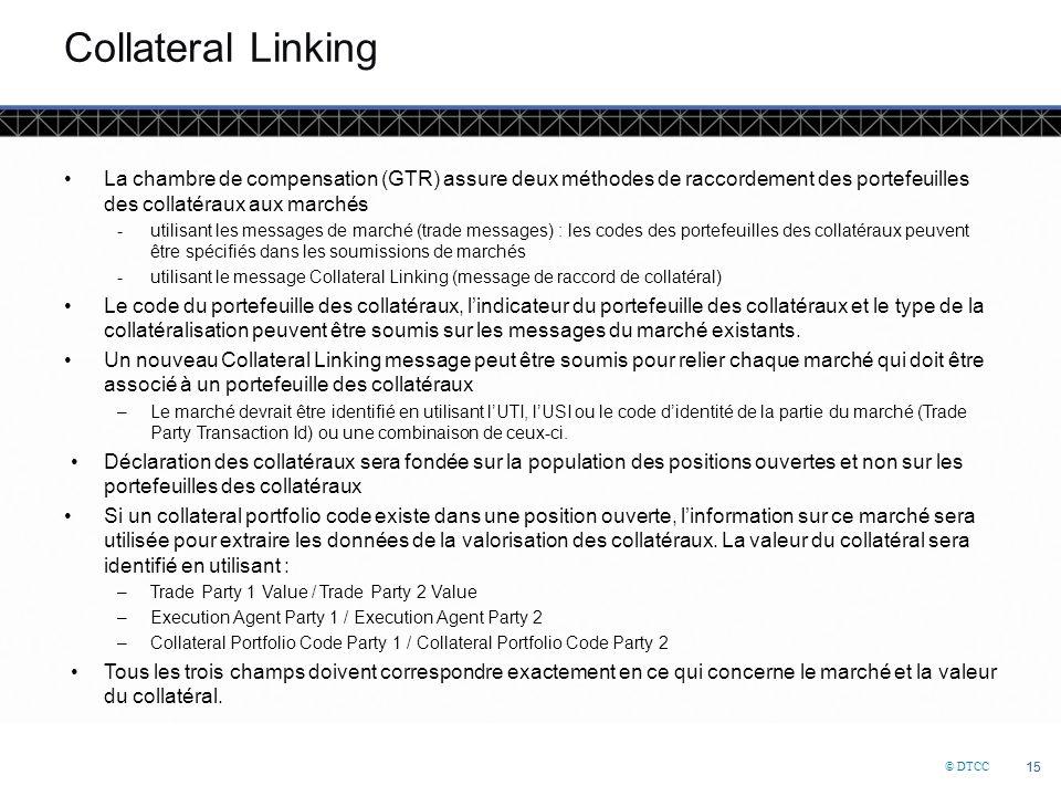 © DTCC 15 Collateral Linking La chambre de compensation (GTR) assure deux méthodes de raccordement des portefeuilles des collatéraux aux marchés -utilisant les messages de marché (trade messages) : les codes des portefeuilles des collatéraux peuvent être spécifiés dans les soumissions de marchés -utilisant le message Collateral Linking (message de raccord de collatéral) Le code du portefeuille des collatéraux, l'indicateur du portefeuille des collatéraux et le type de la collatéralisation peuvent être soumis sur les messages du marché existants.
