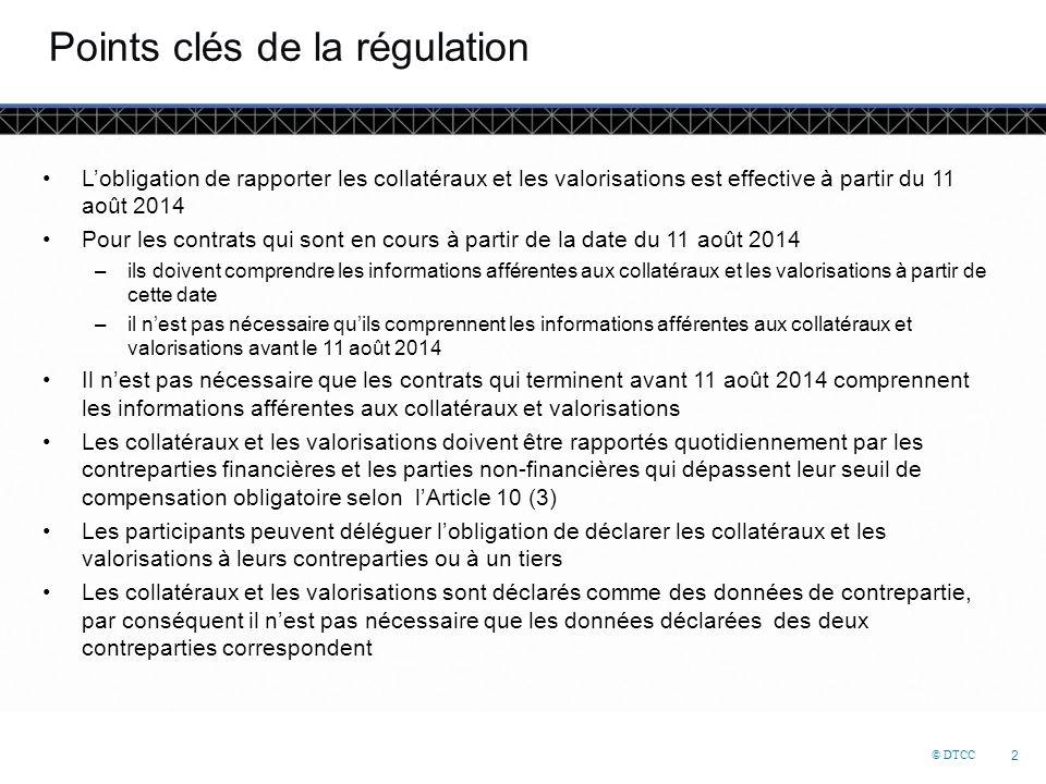© DTCC 2 Points clés de la régulation L'obligation de rapporter les collatéraux et les valorisations est effective à partir du 11 août 2014 Pour les contrats qui sont en cours à partir de la date du 11 août 2014 –ils doivent comprendre les informations afférentes aux collatéraux et les valorisations à partir de cette date –il n'est pas nécessaire qu'ils comprennent les informations afférentes aux collatéraux et valorisations avant le 11 août 2014 Il n'est pas nécessaire que les contrats qui terminent avant 11 août 2014 comprennent les informations afférentes aux collatéraux et valorisations Les collatéraux et les valorisations doivent être rapportés quotidiennement par les contreparties financières et les parties non-financières qui dépassent leur seuil de compensation obligatoire selon l'Article 10 (3) Les participants peuvent déléguer l'obligation de déclarer les collatéraux et les valorisations à leurs contreparties ou à un tiers Les collatéraux et les valorisations sont déclarés comme des données de contrepartie, par conséquent il n'est pas nécessaire que les données déclarées des deux contreparties correspondent