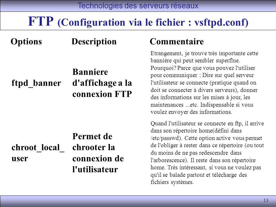 13 FTP (Configuration via le fichier : vsftpd.conf) Technologies des serveurs réseaux OptionsDescriptionCommentaire ftpd_banner Banniere d affichage a la connexion FTP Etrangement, je trouve très importante cette bannière qui peut sembler superflue.