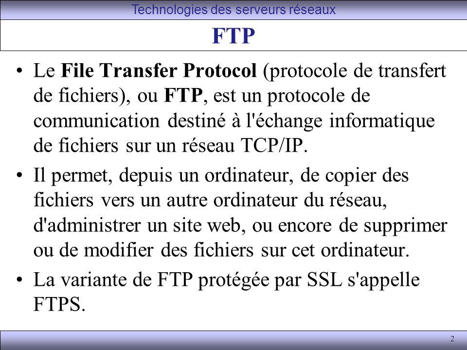 2 FTP Le File Transfer Protocol (protocole de transfert de fichiers), ou FTP, est un protocole de communication destiné à l échange informatique de fichiers sur un réseau TCP/IP.